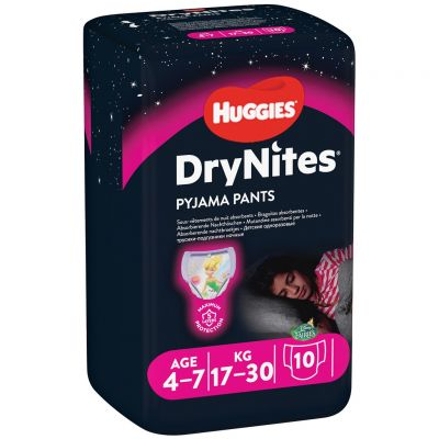 HUGGIES DryNites pro dívky 4-7 let, 10 ks (17-30 kg) - kalhotkové pleny