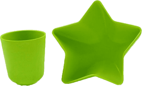 PACIFIC BABY Bamboo Miska - hviezda + Hrnček zelený