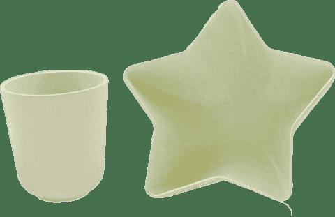 PACIFIC BABY Bamboo Miska - hviezda + Hrnček biely