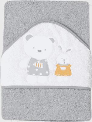INTERBABY Ręcznik dla dziecka frotte 100x100 niedźwiadek, króliczek i domek – szary