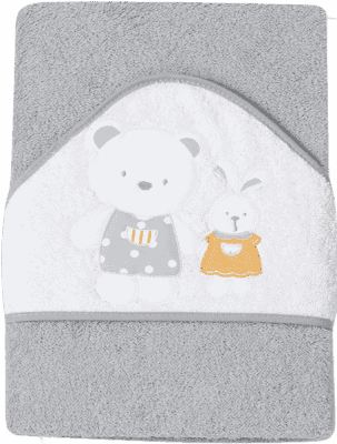 INTERBABY osuška detská froté 100x100 medvedík, zajačik a domček - šedá