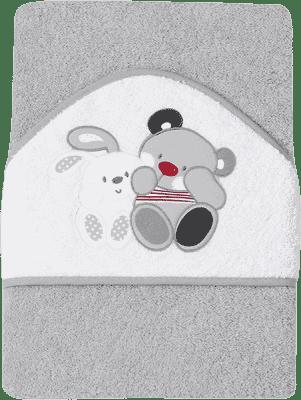 INTERBABY osuška detská froté 100x100 medvedík s zajačikom priatelia - šedá