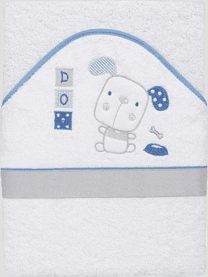 INTERBABY Ręcznik dla dziecka frotte 100x100 piesek – biały/niebieski