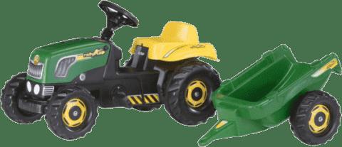 ROLLY TOYS Trzykołowy traktor z pedałami Rolly Kid z przyczepką – zielony