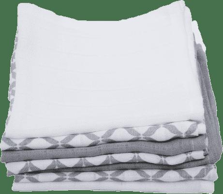 MOTHERHOOD Mušelínové bavlněné ubrousky (30x30 cm) - Classics šedé