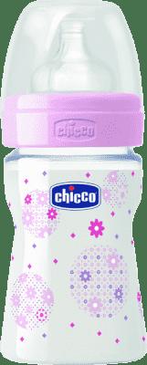 CHICCO Fľaša polypropylén 150ml, silikónový cumlík, 0+, kvítek