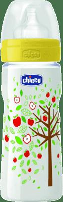 CHICCO Láhev polypropylen 330ml, silikonový dudlík, 4+, jablůňka, žlutá