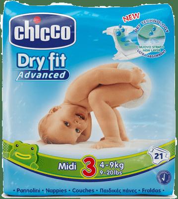 CHICCO Plenky Midi 21ks (4-9kg) – jednorázové pleny