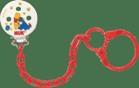 NUK Retiazka na cumlík Disney Medvedík Pú – červený