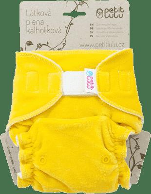 PETIT LULU Žlutý medvídek (velur) - kalhotková plena sz