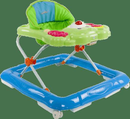 SUN BABY Detské chodítko Bear s hrkálkami - modro zelená