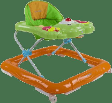 SUN BABY Dětské chodítko Bear s chrastítky – zeleno oranžová