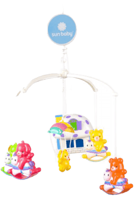 SUN BABY Kolotoč nad postieľku s lampičkou v tvare domčeka - Zvieratká