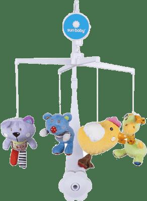 SUN BABY Karuzela do łóżeczka z pluszowymi zabawkami (miś, kotek, kurczaczek, żyrafa)
