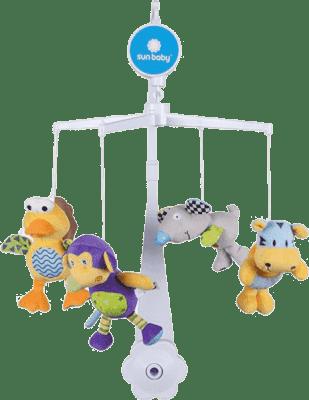 SUN BABY Karuzela do łóżeczka z pluszowymi zabawkami (ptaszek, myszka, małpka, tygrys)