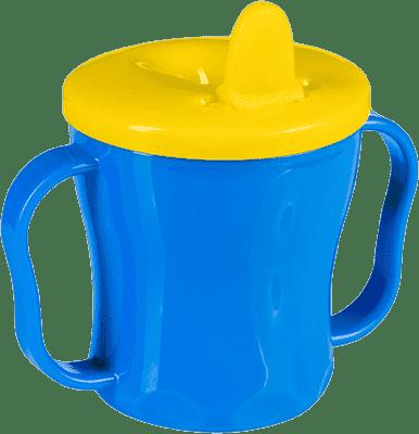 BABYONO Hrnek netekoucí se sklápěcím náustkem modro - žlutá