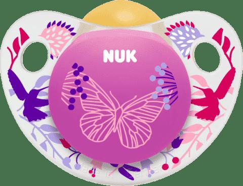 NUK Dudlík Trendline ADORE,latexový,V1 (0-6m.) - růžový motýl