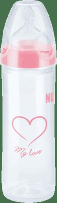 NUK NEW CLASSIC Láhev LOVE PP 250 ml,Silikon,Velikost 2,M – růžová