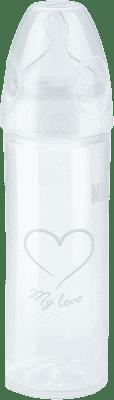 NUK New Classic Láhev Love PP 250 ml, silikon, velikost 2 (6-18 m), M – bílá