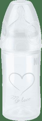 NUK NEW CLASSIC Láhev LOVE PP 150 ml,Silikon,Velikost 1,M – bílá,různé motivy