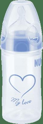 NUK NEW CLASSIC Láhev LOVE PP 150 ml,Silikon,Velikost 1,M – modrá,různé motivy
