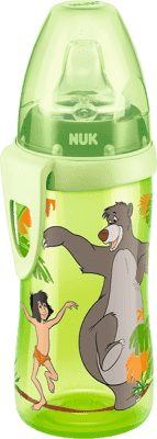 NUK FC Fľaša PP Active Cup DISNEY-Kniha džunglí, 300ml, silikónové fontánka s pitnou vodou - zelená