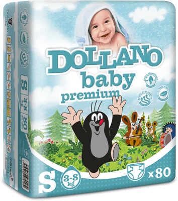 DOLLANO Baby Premium, velikost S, (3-8 kg) 80ks - jednorázové pleny