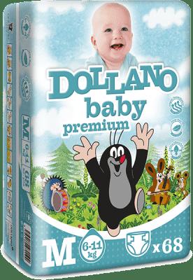 DOLLANO Baby Premium, velikost M, (6-11 kg), 68 ks - jednorázové pleny