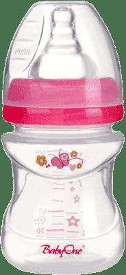BABY ONO Dojčenská antikoliková fľašu, široké hrdlo 120 ml - ružová