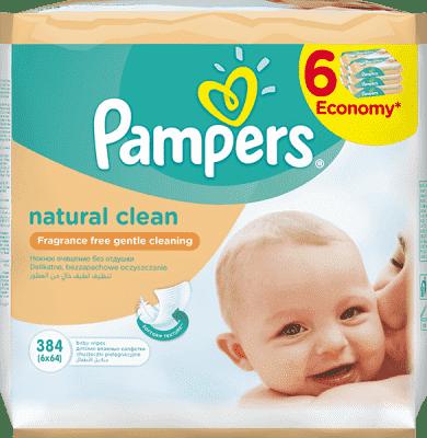 6x PAMPERS Natural Clean 64 ks - vlhčené obrúsky