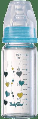 BABY ONO Dojčenská sklenená fľaša Standard 120 ml 0m + modrá
