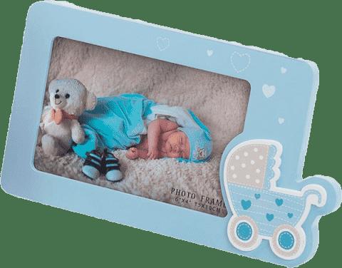 FOTORÁMEČEK dekorační - modrý (kočárek)