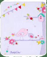 BABY ONO Deka saténová plyšová - fialový vtáčiky 80 x 100
