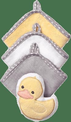 BABY ONO Súprava 3 umývacích utierok s hubkou – kačička