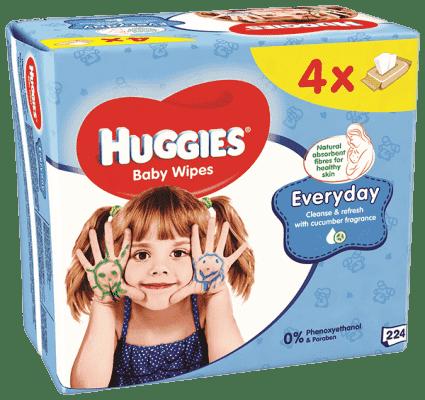 4x HUGGIES® Quatro Pack Everyday 56 ks - vlhčené obrúsky