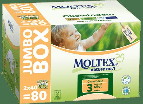 MOLTEX Nature no. 1 Midi, 80 ks (4 - 9 kg) - JUMBO BOX – jednorázové plienky