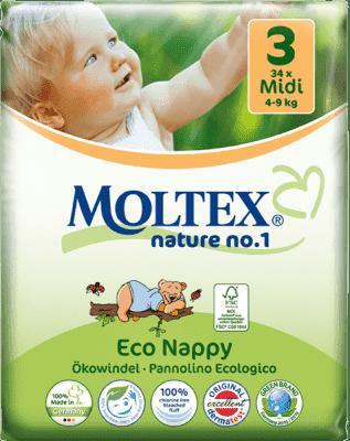 MOLTEX Nature no. 1 Midi, 34 ks (4 - 9 kg) – jednorázové plienky