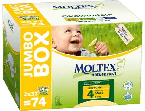 MOLTEX Nature no. 1 Maxi, 74 ks (7 - 18 kg) - JUMBO BOX – jednorázové plienky