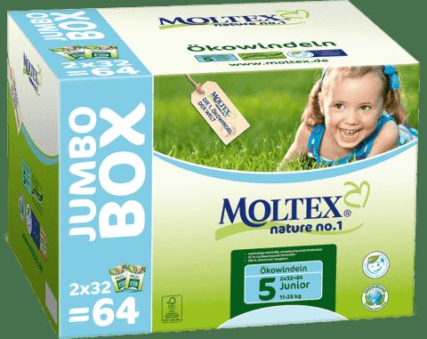 MOLTEX Nature no. 1 Junior, 64 ks (11 - 25 kg) - JUMBO BOX – jednorázové pleny