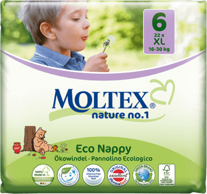 MOLTEX Nature no. 1 XL, 22 ks (16 - 30 kg) – jednorázové pleny