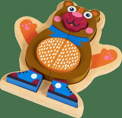 OOPS Happy Puzzle! - Zvířátkové puzzle na desce 9ks Medvídek