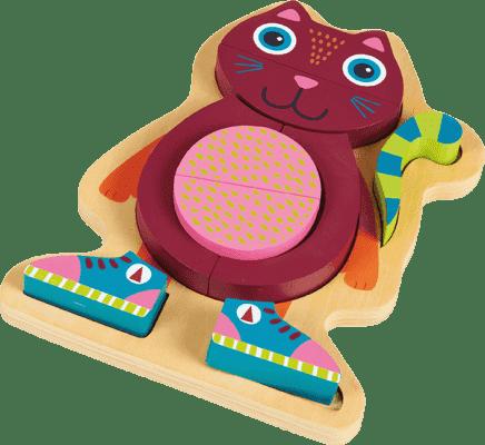 OOPS Happy Puzzle! - Zvířátkové puzzle na doske 9ks Mačka