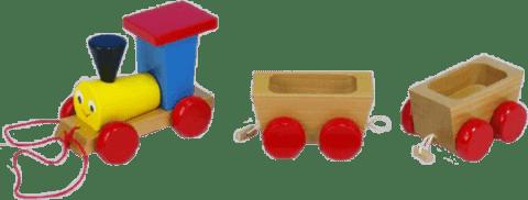 MIVA Vlak + 2 vagónky ze dřeva - tahací barevný