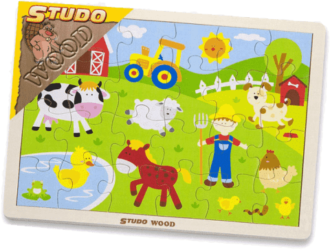 STUDO WOOD Puzzle farma 24 szt.