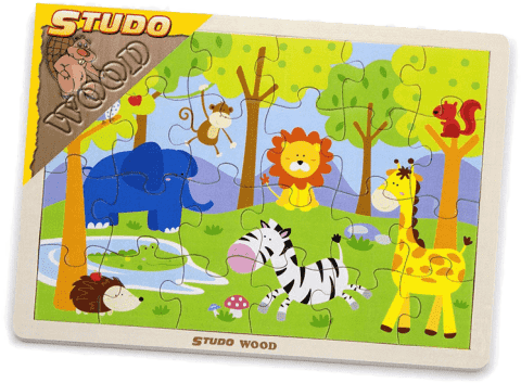 STUDO WOOD Puzzle safari 24 szt,