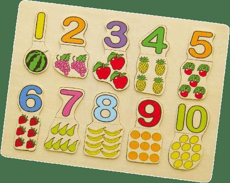 STUDO WOOD Układanka planszowa cyfry + owoce