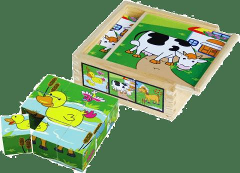 STUDO WOOD Dřevěné kostky - 9 ks