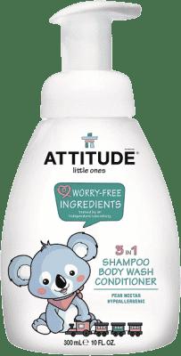 ATTITUDE Detské telové mydlo, šampón a kondicionér (3v1) Hruška - s pumpičkou 300 ml