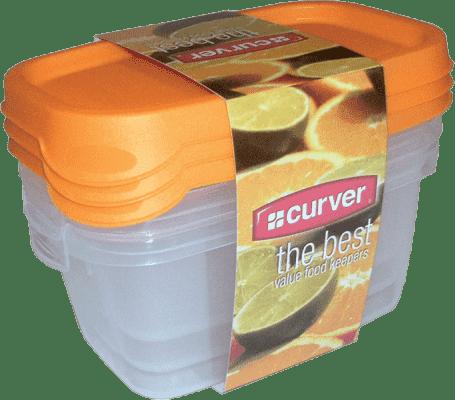 CURVER Pojemniki na żywność Food Set Mix 3 x 0.5l, pomarańczowe