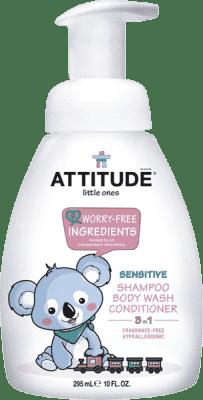 ATTITUDE Detské telové mydlo, šampón a kondicionér (3v1) bez vône - s pumpičkou 300 ml